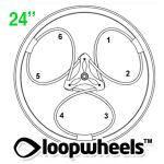 "24"" 1 COLOR Loopwheels with CUSTOM COLOR logo - PAIR LOOP1C24CL"
