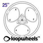 "25"" 2 COLOR Loopwheels with 1 CUSTOM COLOR logo - PAIR LOOP2C25CL"