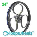 "24"" BLACK Loopwheels with Teal logo - PAIR LOOPK24T"