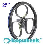 "25"" BLACK Loopwheels with Teal logo - PAIR LOOPK25T"
