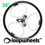 "24"" WHITE Loopwheels with Black logo - PAIR LOOPW24K"