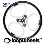 "25"" WHITE Loopwheels with Black logo - PAIR LOOPW25K"